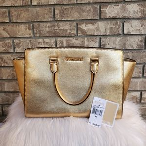 Michael Kors Selma gold leather satchel handbag